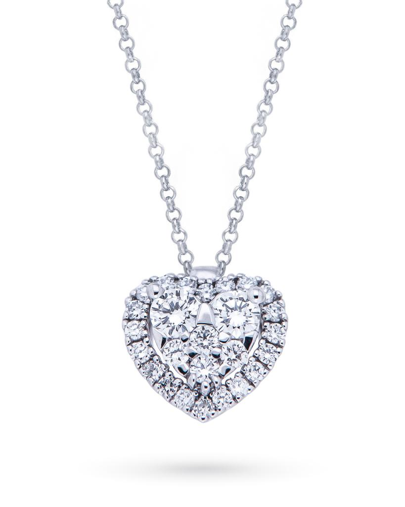 18kt white gold necklace with heart of brilliant cut diamonds 0,28ct - MIRCO VISCONTI