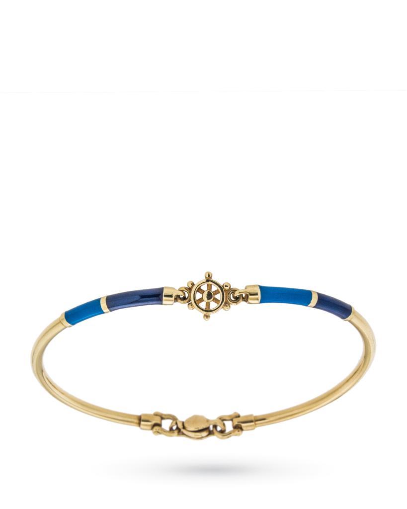 Bracciale semirigido in oro giallo con timone e smalti blu - UNBRANDED