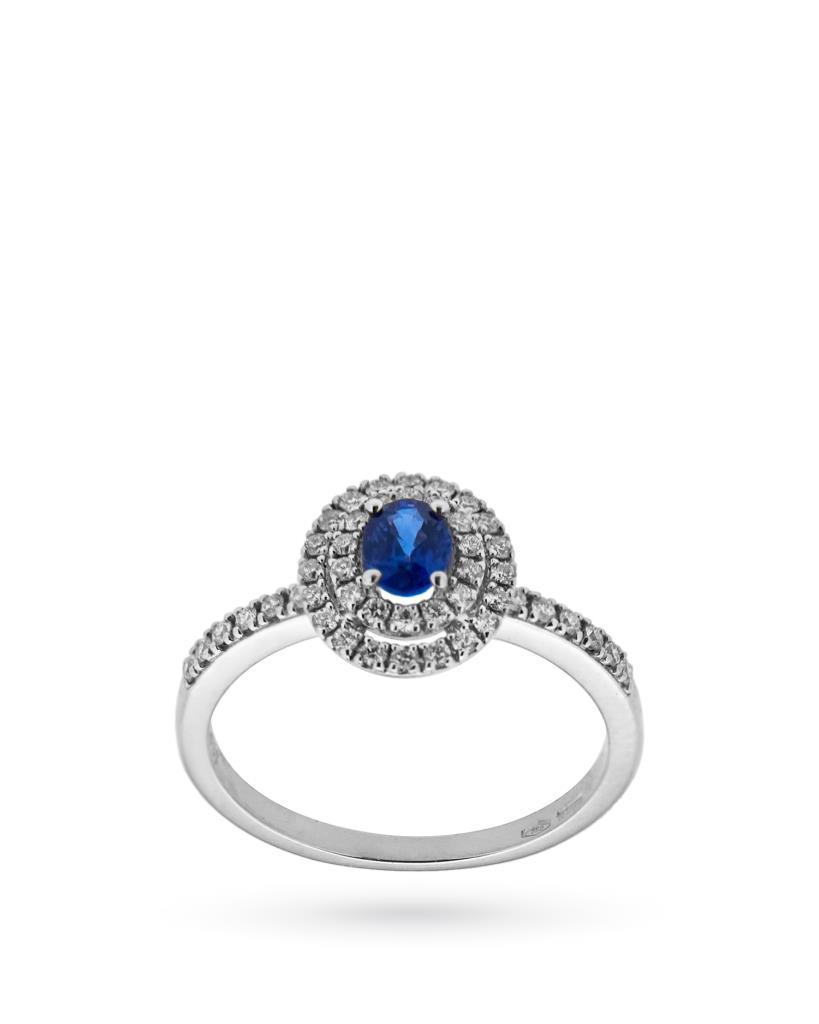 Anello in oro bianco con zaffiro ovale e diamanti  - MIRCO VISCONTI