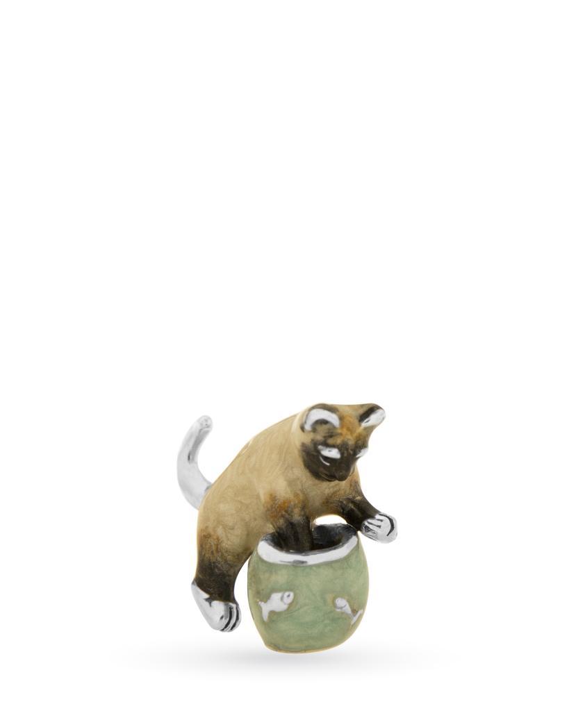 Gatto con acquario mini soprammobile in argento e smalto - SATURNO