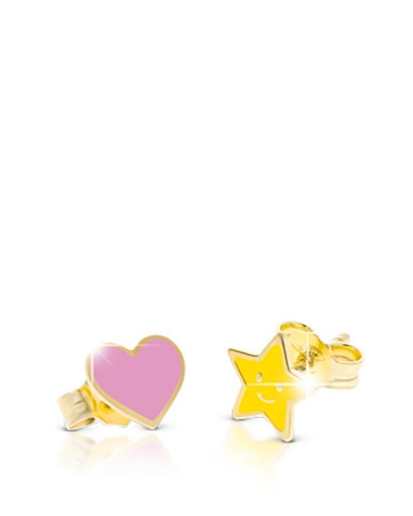 Orecchini LeBebè PMG056 Primegioie in oro con stellina e cuore smaltati - LE BEBE