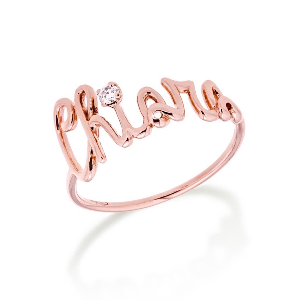 Anello con nome CHIARA in oro rosa e diamante - GOVONI