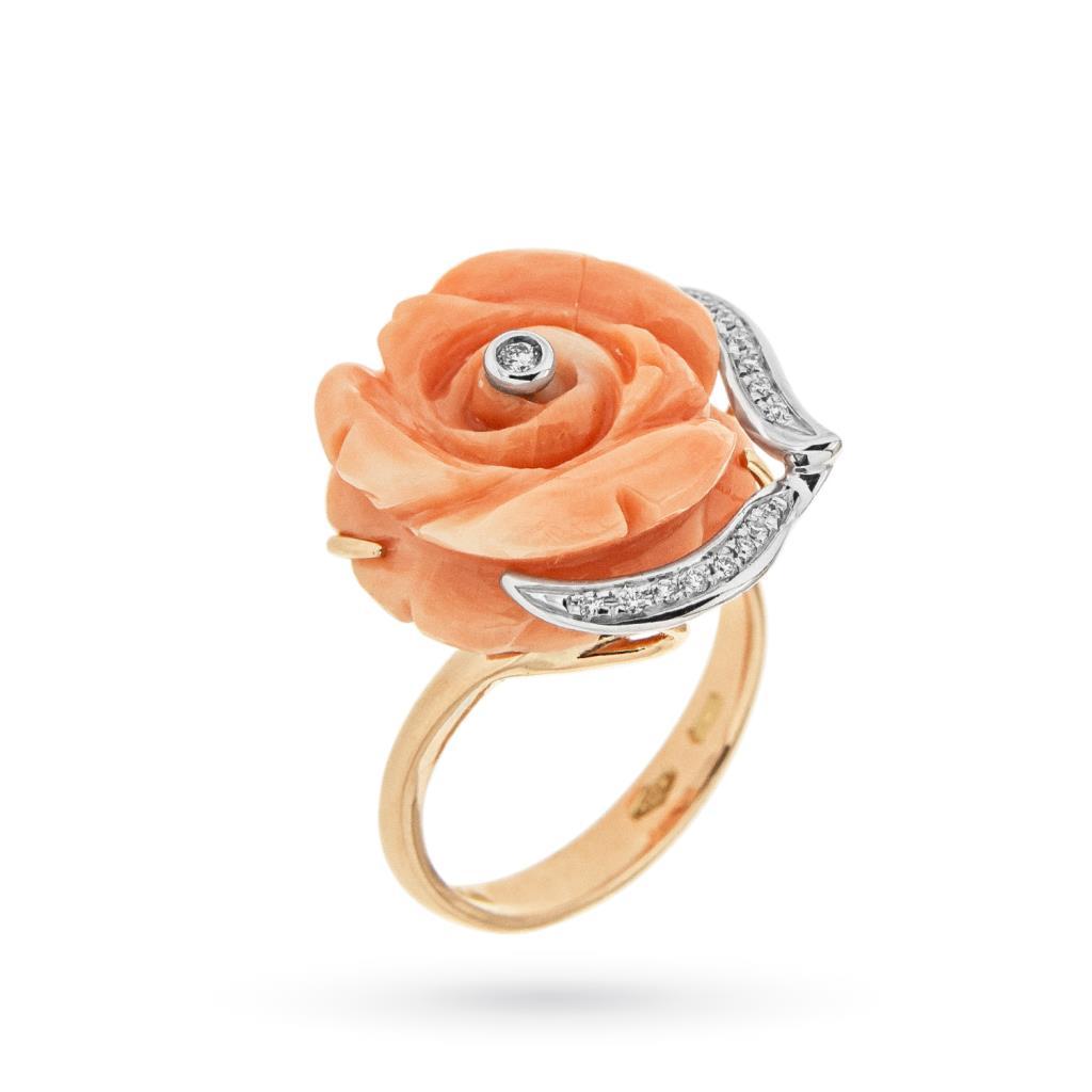 Anello con rosa di corallo e brillanti in oro rosa 18kt - CICALA