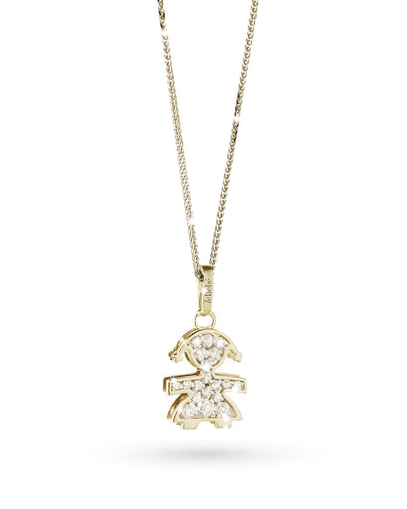 Ciondolo leBebe LBB022 bimba in oro giallo con diamanti - LE BEBE