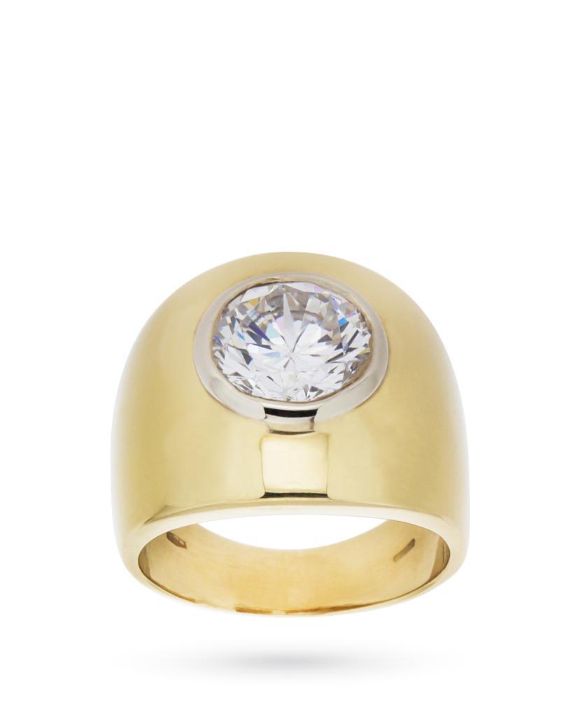Anello in oro giallo con grande zircone bianco taglio brillante - CICALA