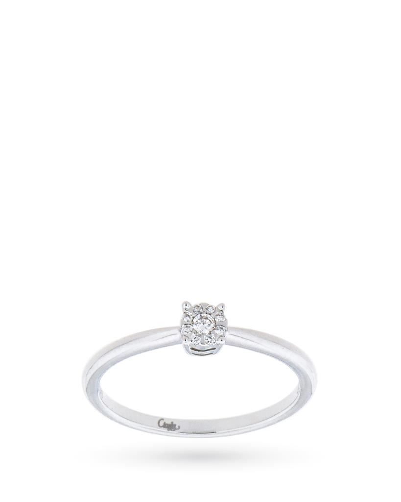 18kt white gold solitaire ring with diamonds ct 0,06 G VS - MIRCO VISCONTI