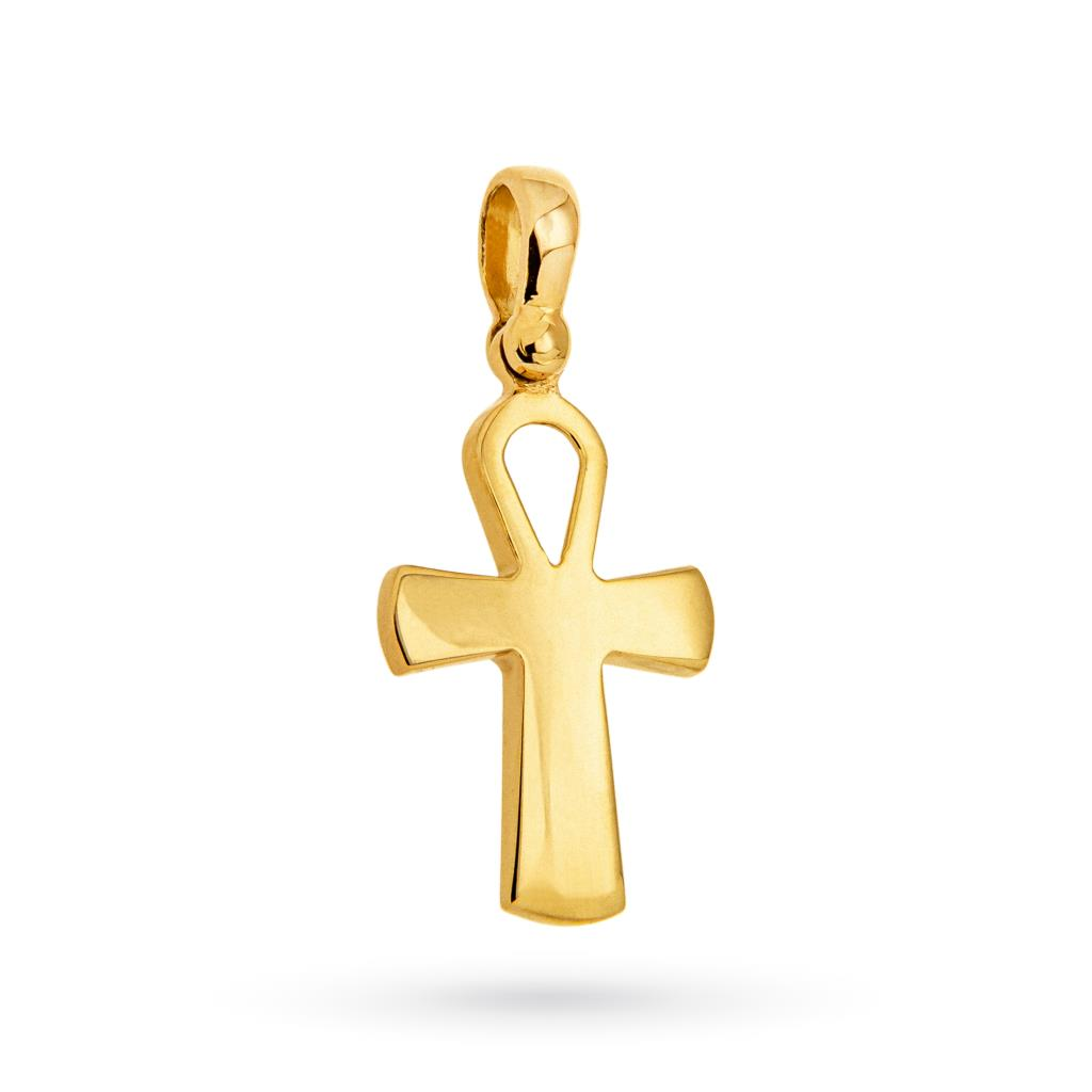18kt yellow gold Egyptian cross with polished surface - CICALA