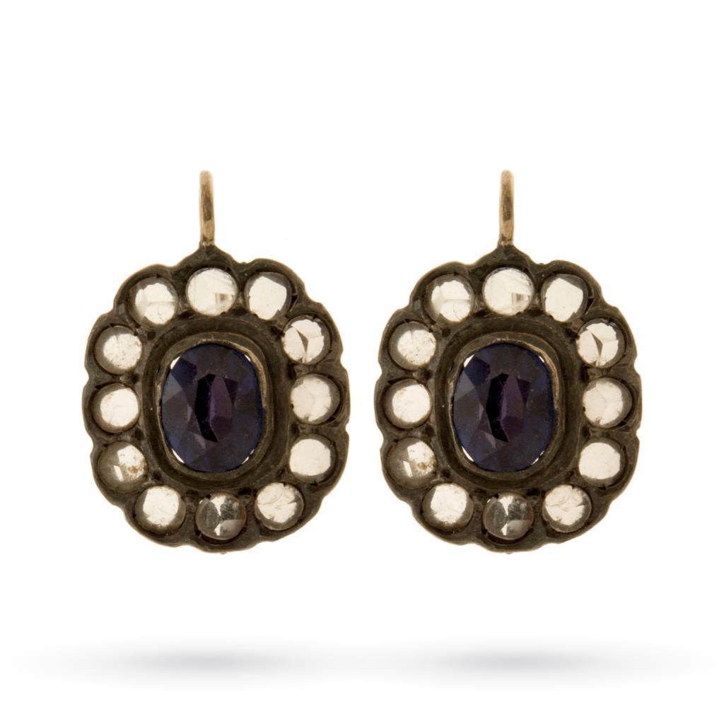 Orecchini vintage in argento e oro con pietre blu e bianche - UNBRANDED