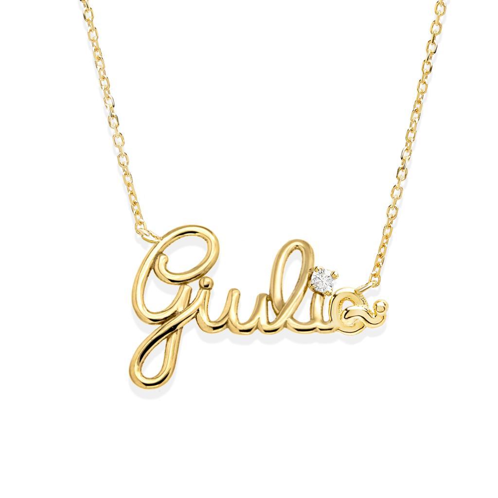 Collana con nome GIULIA in oro giallo e diamante - GOVONI