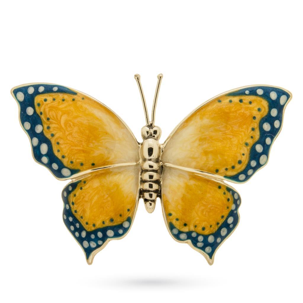 Farfalla grande soprammobile argento e smalto - SATURNO