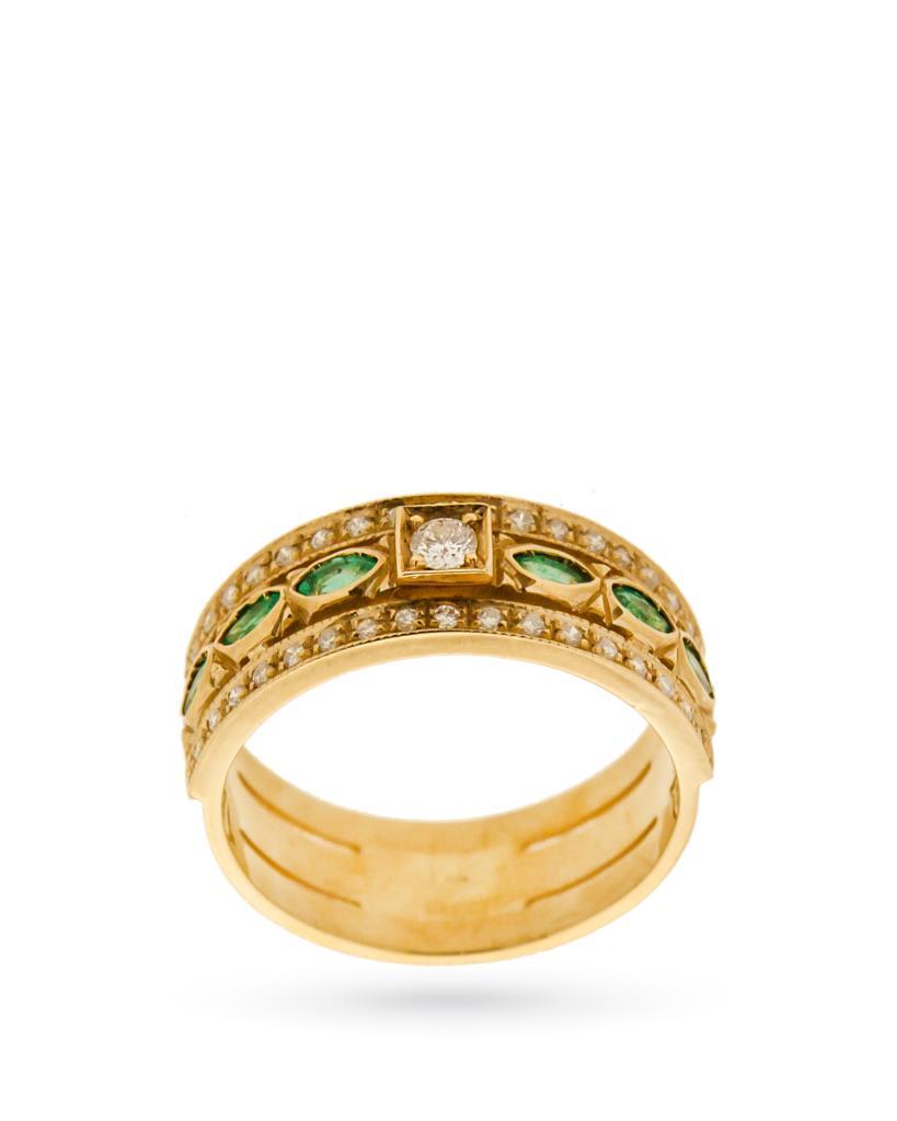 Anello in oro giallo 18kt a fascia con smeraldi e diamanti - UNBRANDED