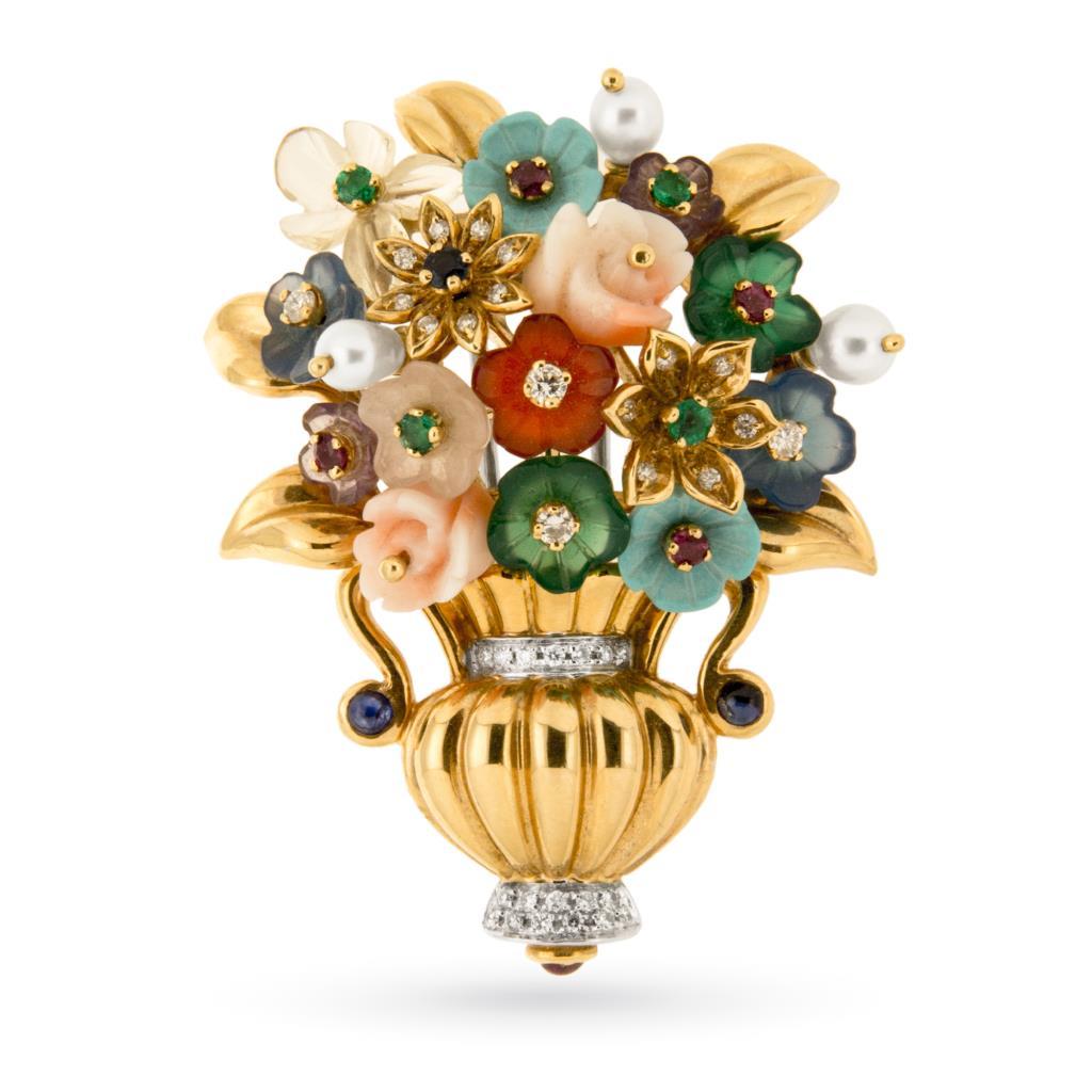 Spilla vintage in oro a vaso di fiori con pietre preziose - GIORGIO VISCONTI