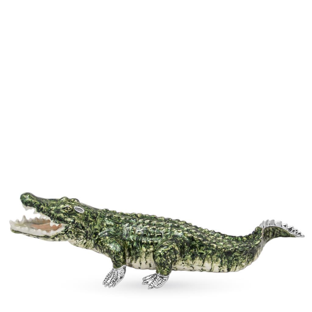 Coccodrillo gigante soprammobile in argento e smalto - SATURNO