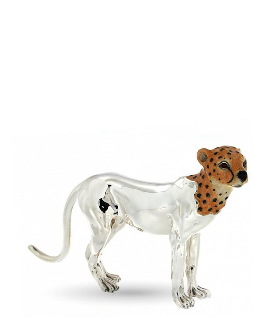 Ghepardo adulto soprammobile in argento e smalto - SATURNO