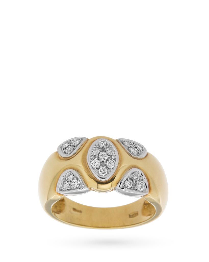 Anello a fascia in oro con diamanti 0,29ct G VS  - UNBRANDED