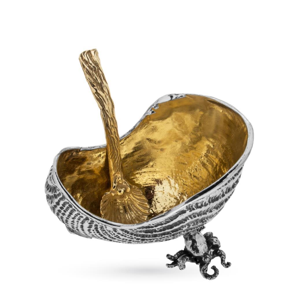 Saliera in argento conchiglia Nautilus con interno dorato - CASSETTI