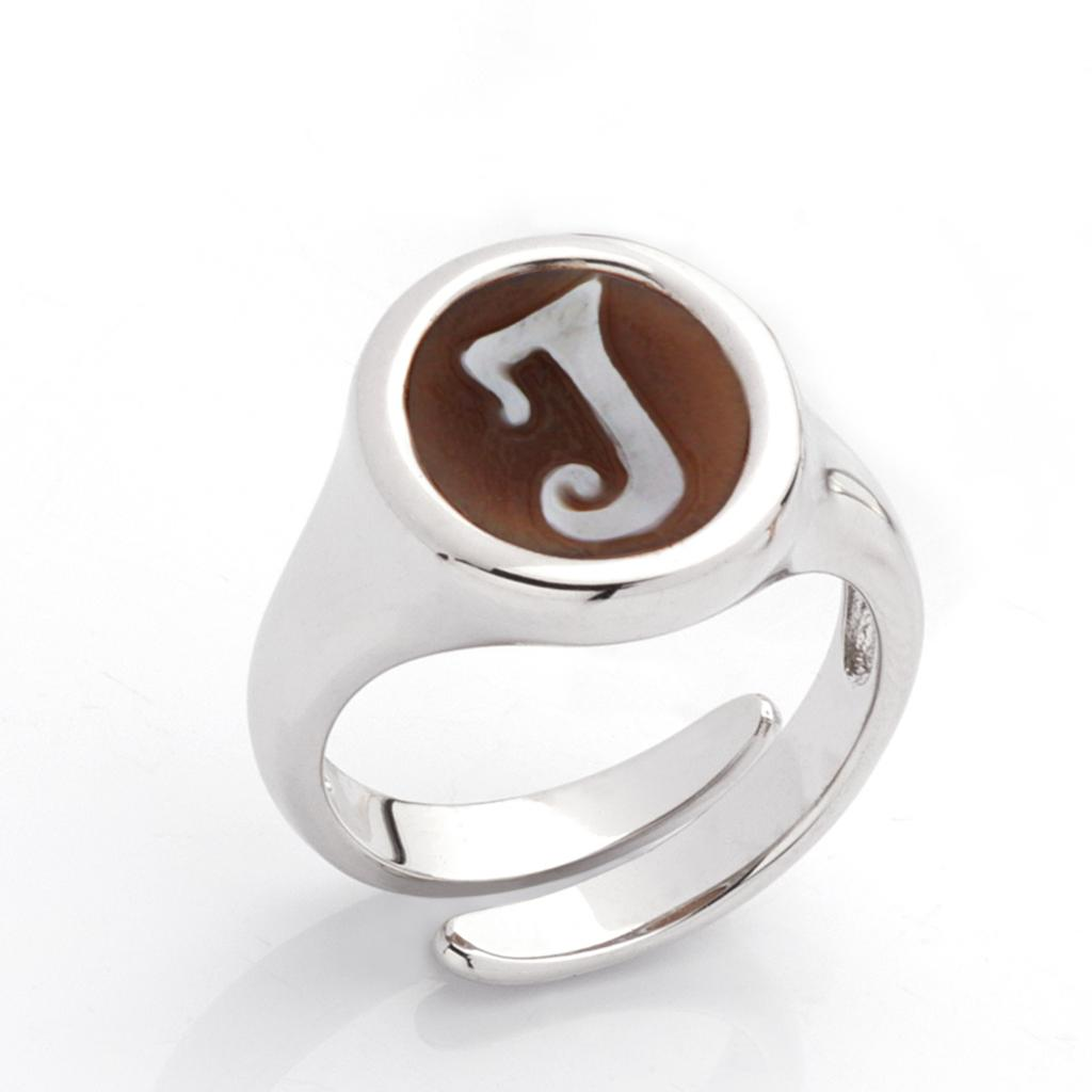 I letter ring in 925 silver with italics engraved cameo - CAMEO ITALIANO
