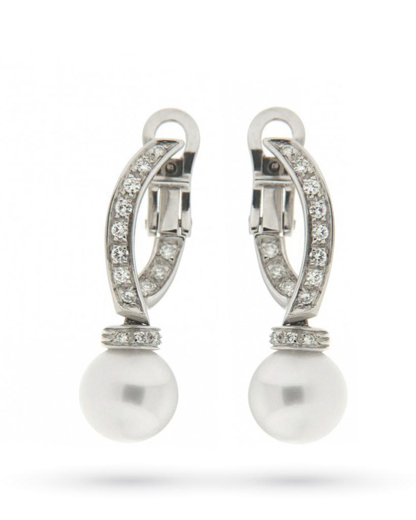 Orecchini con perle e diamanti in oro bianco 18kt - CICALA