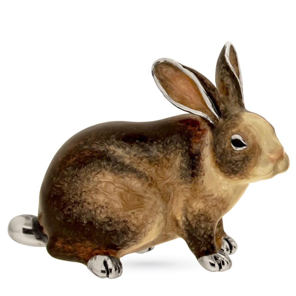Coniglio grande soprammobile in argento e smalto  - SATURNO