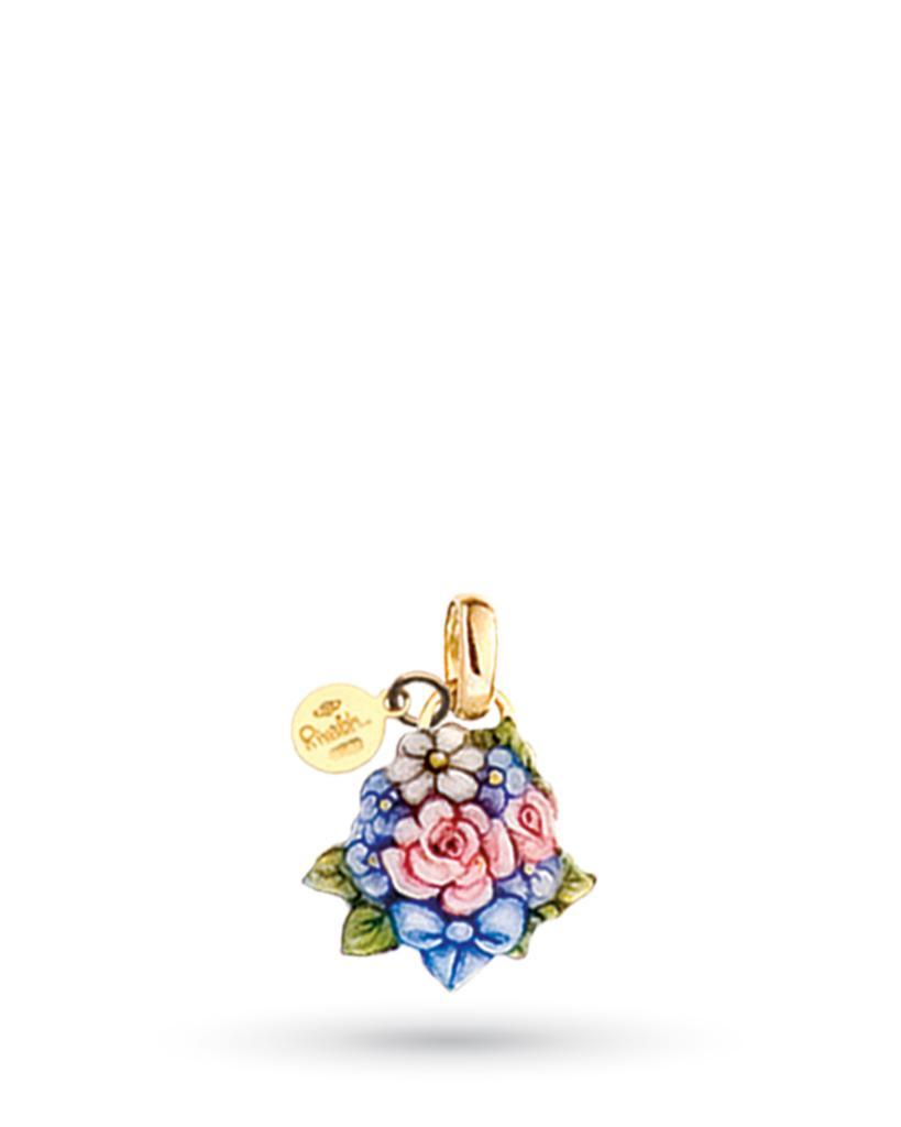 8a7e3ee580 Ciondolo Bouquet di fiori con fiocco blu di Gabriella Rivalta in rame e oro  - GABRIELLA