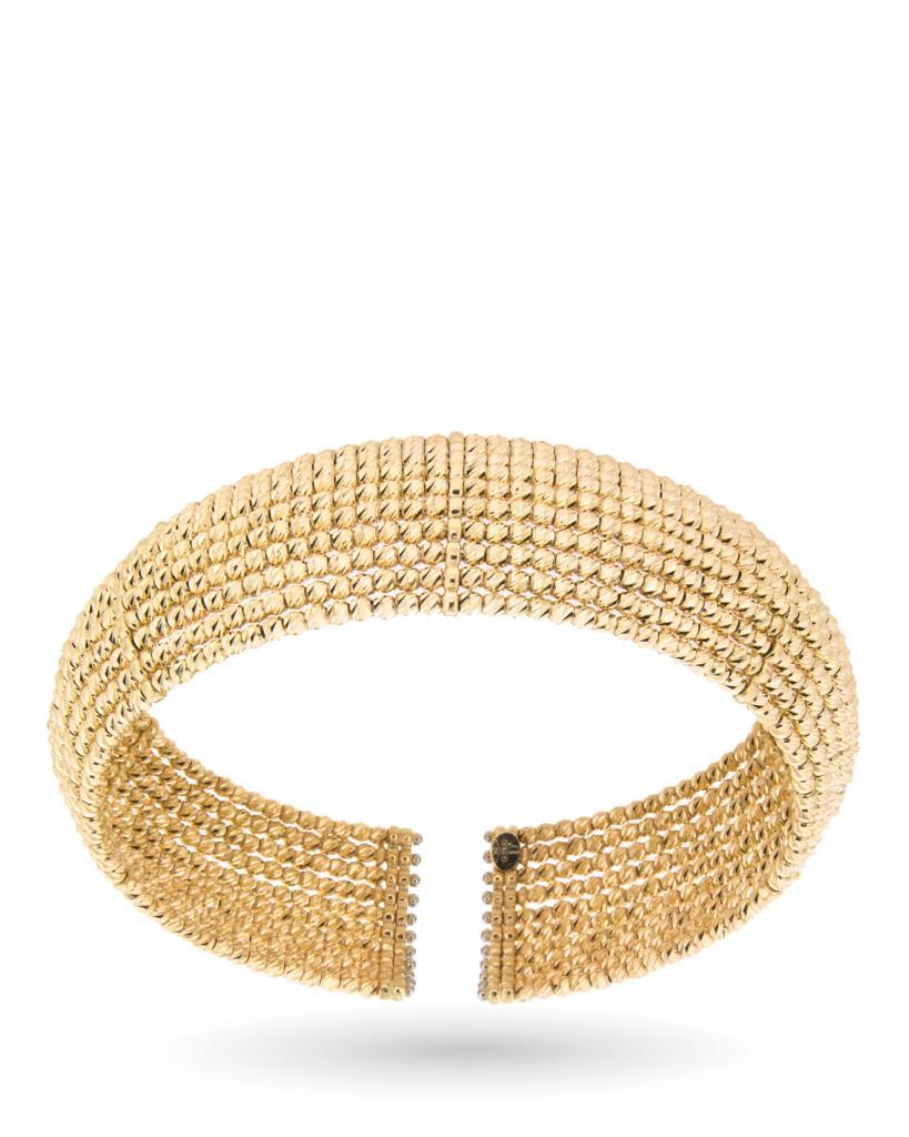 Bracciale rigido in oro giallo con 11 fili di sferette - UNBRANDED