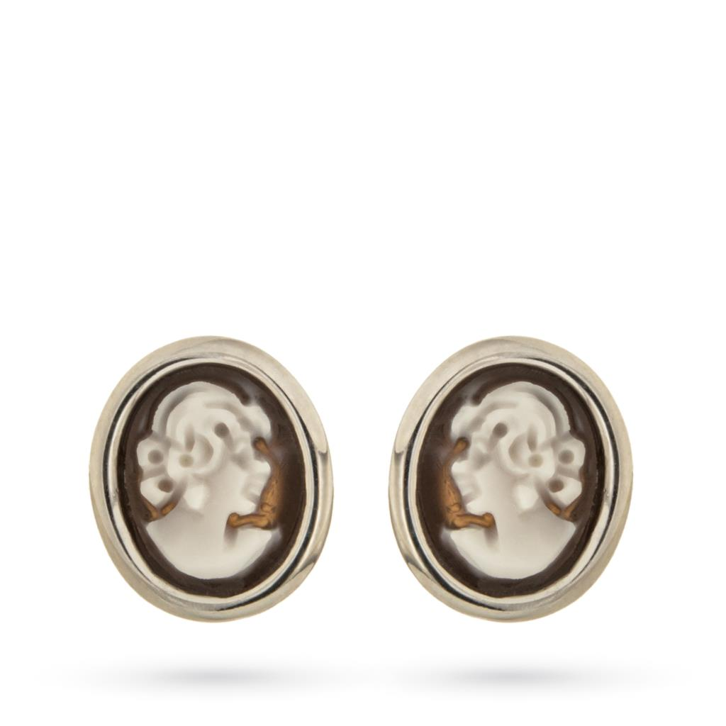 Stud earring in 925 sterling silver with cameo of lady - CAMEO ITALIANO