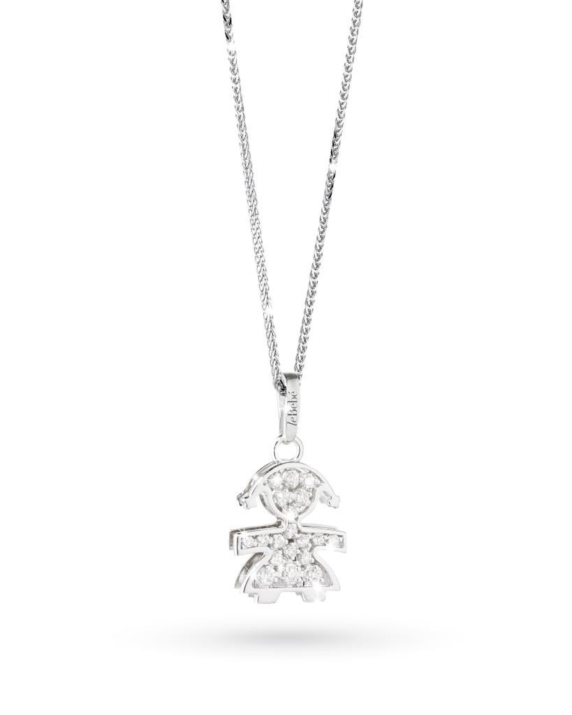 Ciondolo leBebe LBB012 bimba in oro bianco con diamanti - LE BEBE