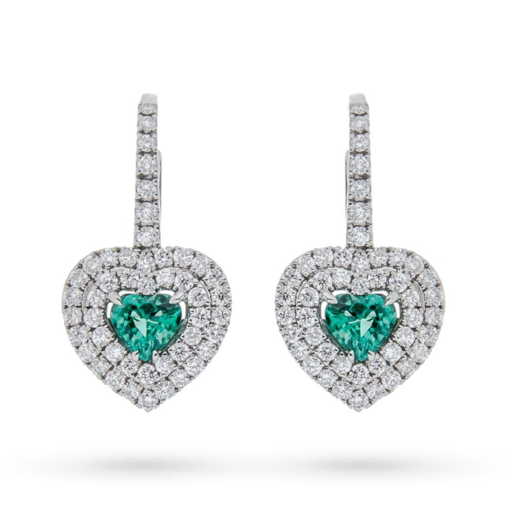 Orecchini in oro bianco con cuore di smeraldo e diamanti - MIRCO VISCONTI