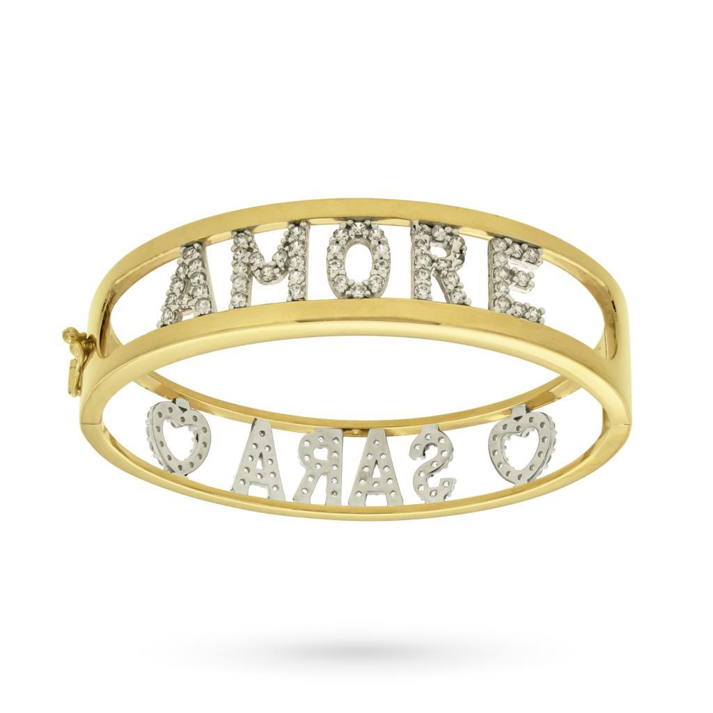 Bracciale rigido con 2 nomi in argento placcato in oro e zirconi - CICALA