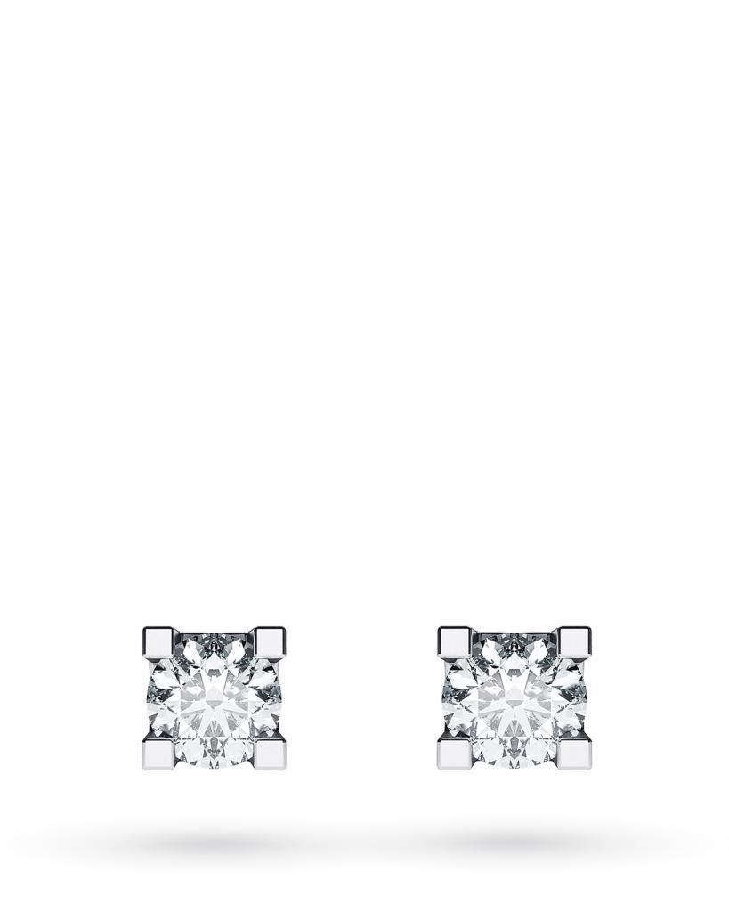 Orecchini a lobo 4 griff in oro bianco con diamanti ct 0,12 D VS - CICALA
