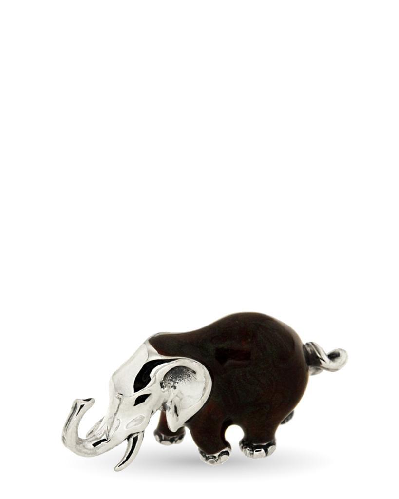 Elefantino medio soprammobile in argento e smalto - SATURNO