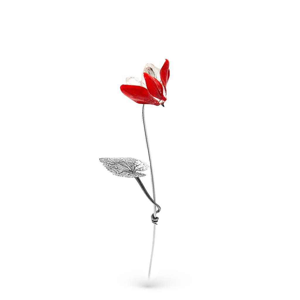 Ciclamino rosso soprammobile in argento e smalto 25,5cm - GI.RO'ART