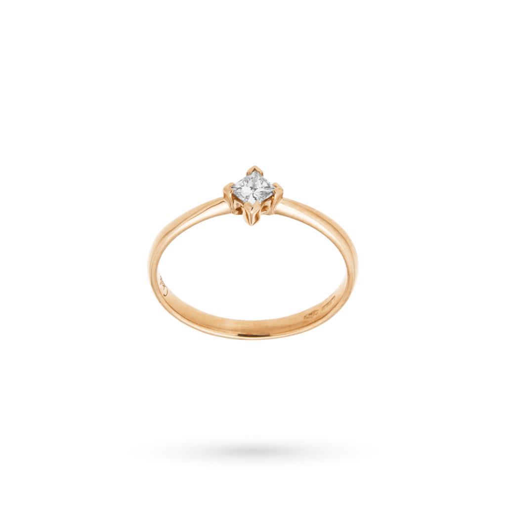 Anello oro rosa con diamante taglio princess 0,18ct - CICALA