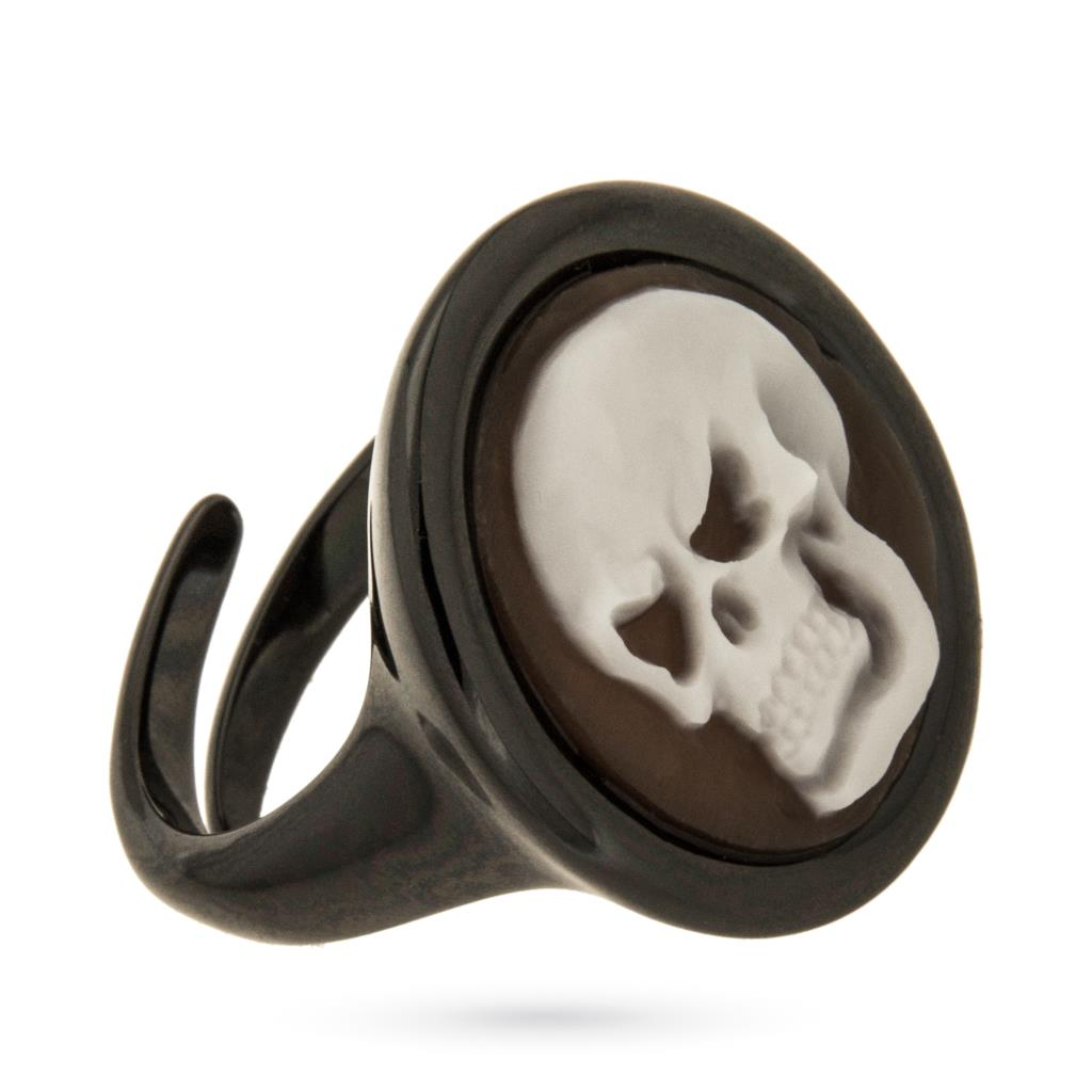 925 brunished sterling silver ring with cameo of skull - CAMEO ITALIANO