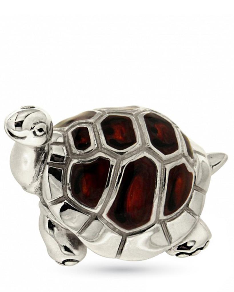 Tartaruga grande soprammobile in argento e smalto  - SATURNO