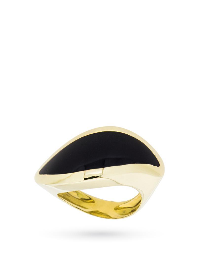 Anello in oro giallo 18kt fascia a occhio con grande pietra nera - UNBRANDED
