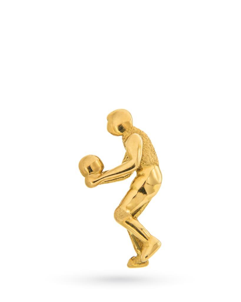 Spilla da uomo giocatore pallavolo in oro giallo 18kt - UNBRANDED