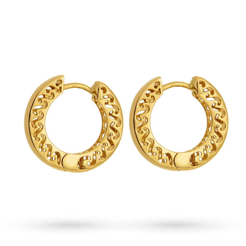 Hoop earrings in 18kt yellow gold with smooth barrel Ø 15mm - CICALA