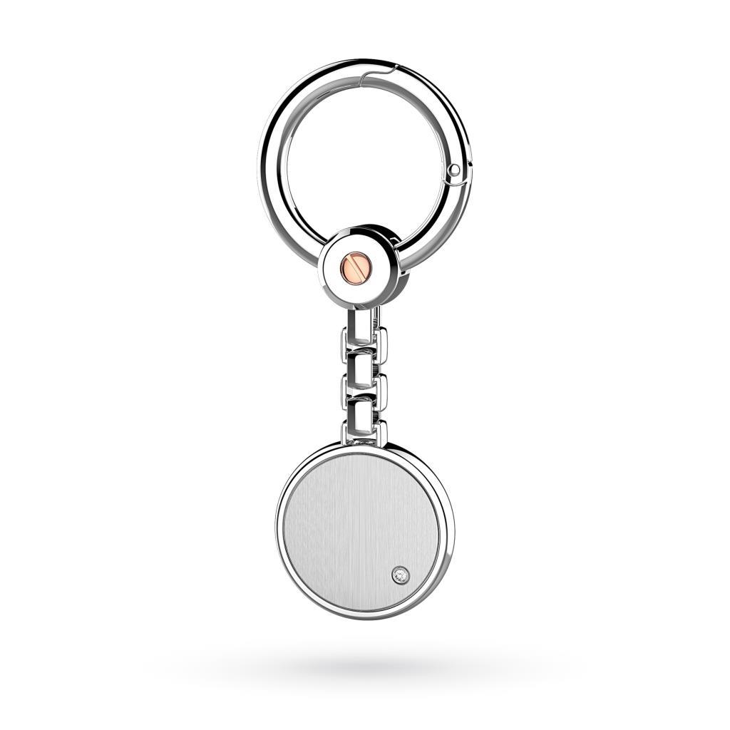Portachiavi Zancan ESP004R in argento satinato con zaffiro - ZANCAN
