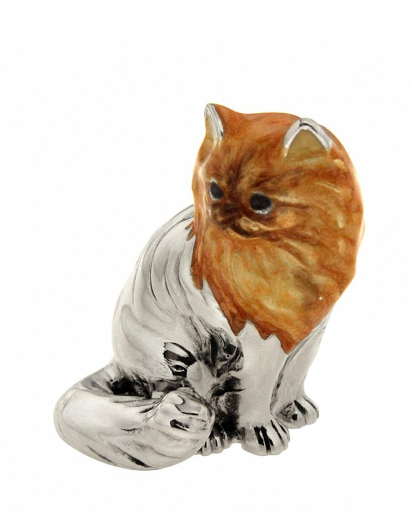 Gatto persiano seduto soprammobile argento e smalto  - SATURNO