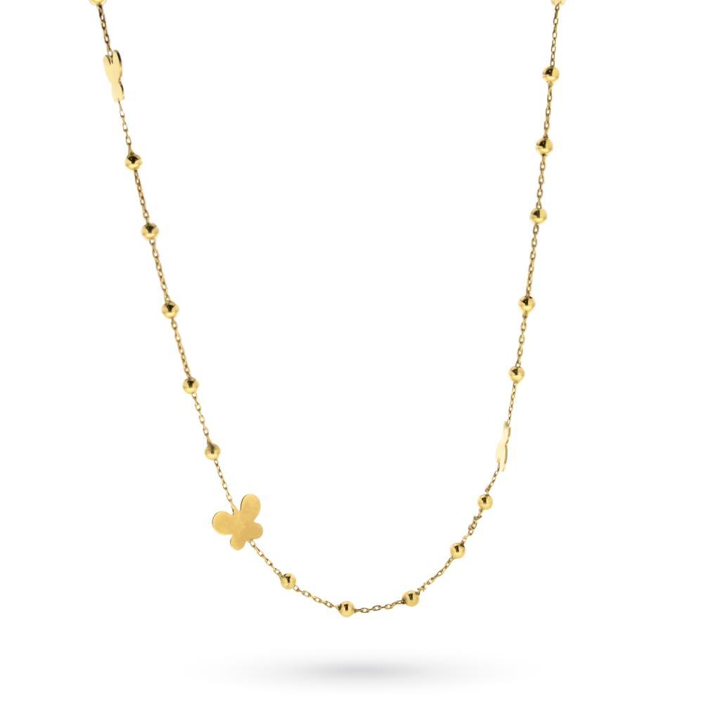 check-out 2de24 8177a Collana lunga in oro giallo con farfalle e palline - CICALA ...