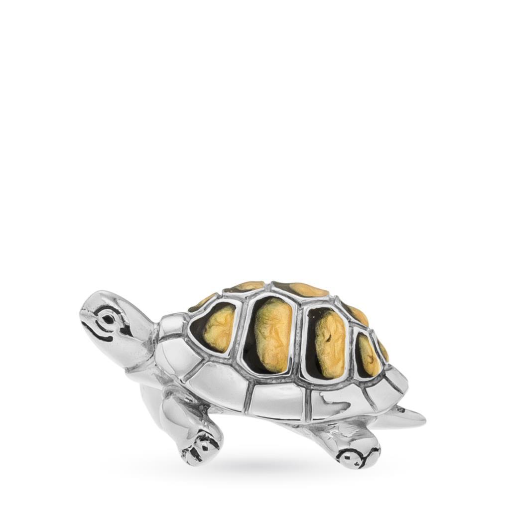 Tartaruga media soprammobile in argento e smalto  - SATURNO