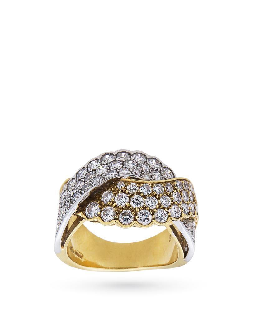 Anello in oro giallo e bianco con fascia intrecciata di diamanti 2,70ct H VS - SALVINI