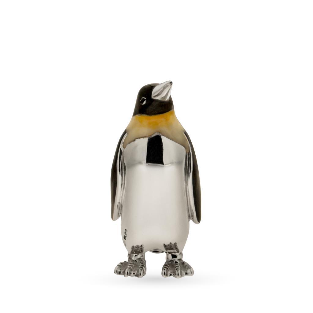 Pinguino medio soprammobile argento e smalto - SATURNO