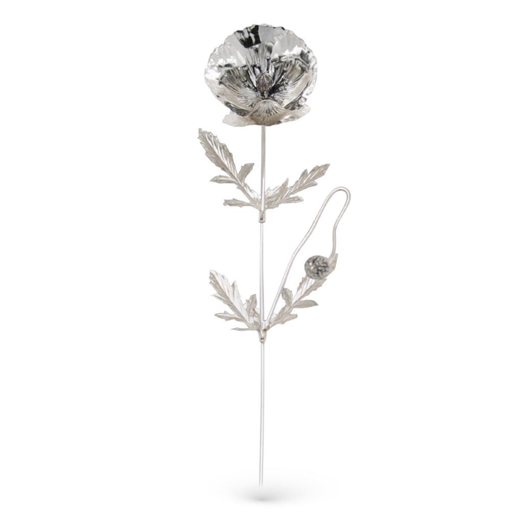 Papavero soprammobile in argento 925 23,5cm - GI.RO'ART