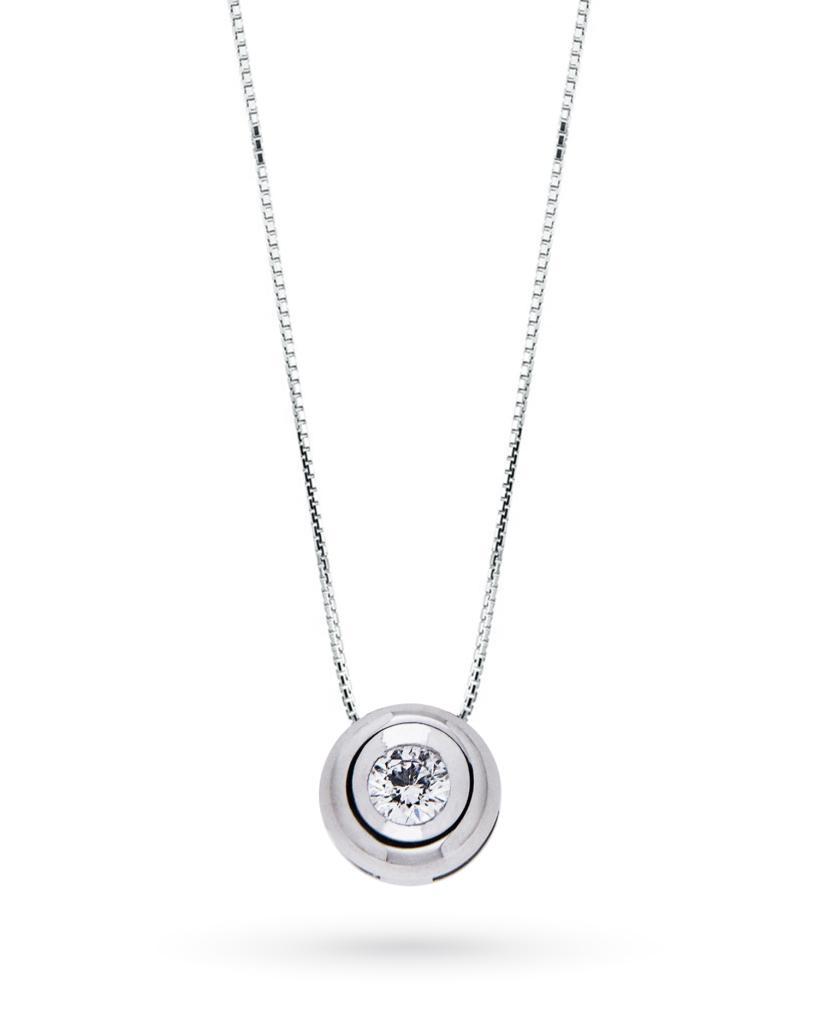 Girocollo punto luce rotondo con diamante taglio brillante 0,10ct G VS - CICALA