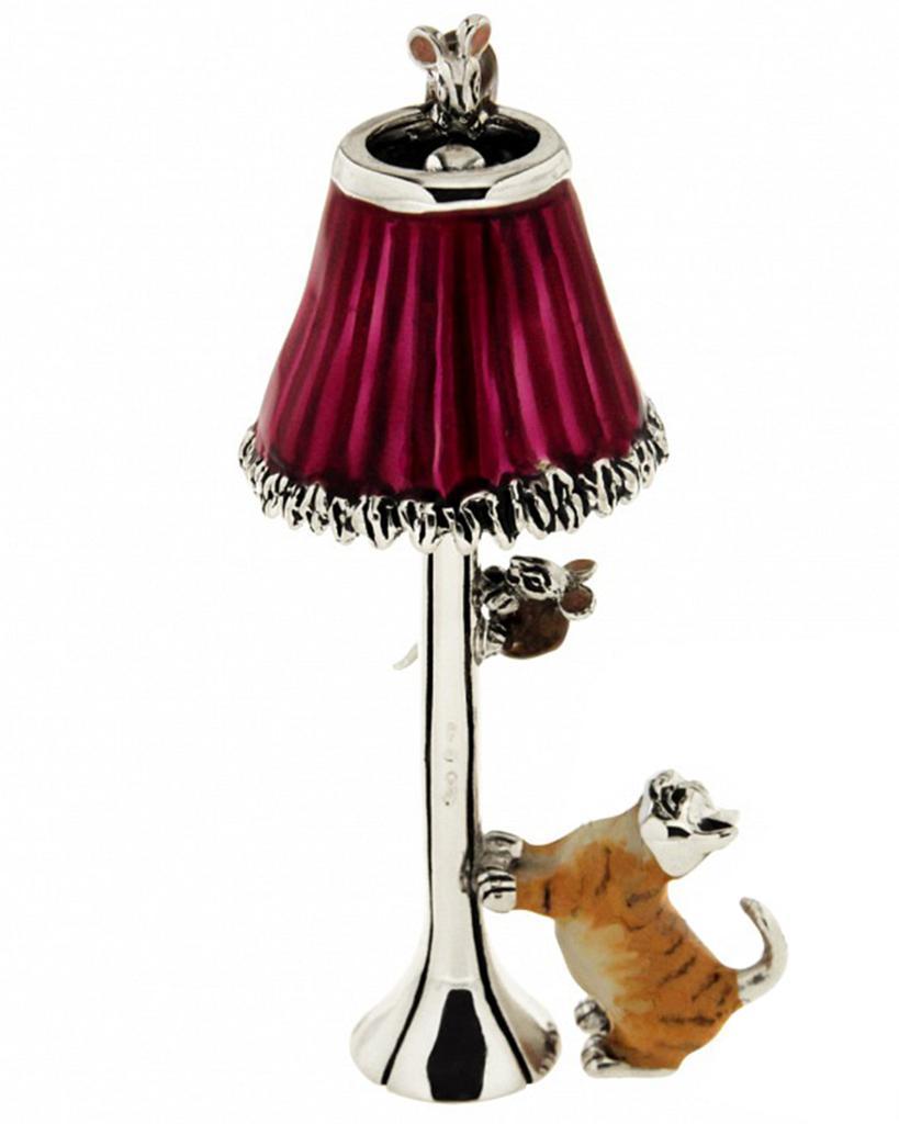 Gatto e topi su lampada soprammobile in argento e smalto  - SATURNO