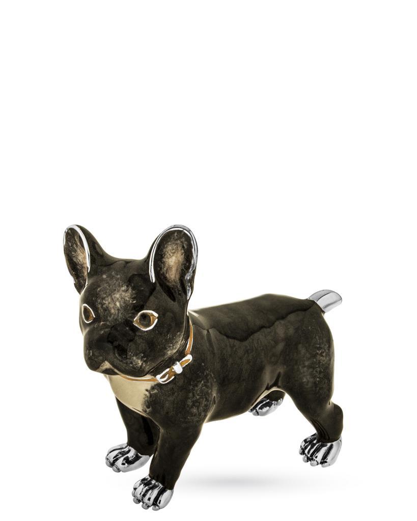 French bulldog soprammobile in argento e smalto - SATURNO