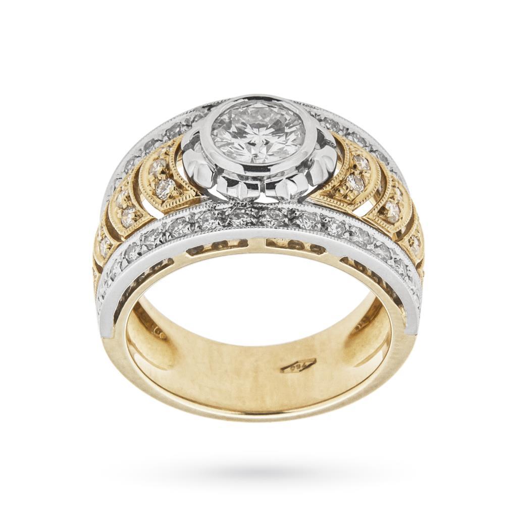 Anello fascia in oro con diamante centrale e diamantini - CICALA