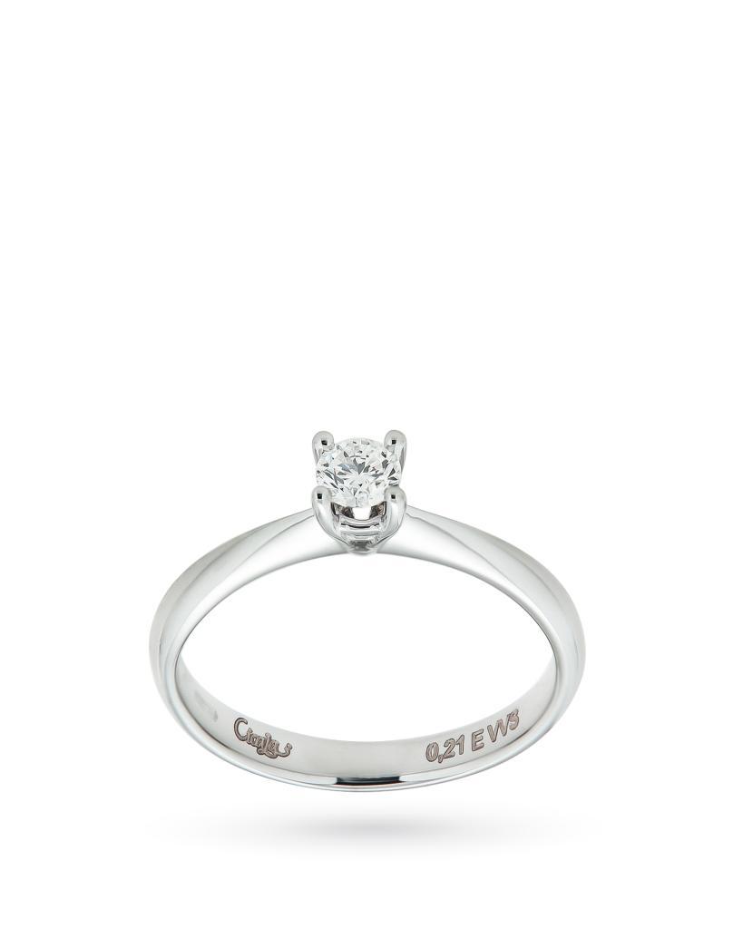 Anello solitario in oro bianco con diamante 0,21ct E VVS - CICALA